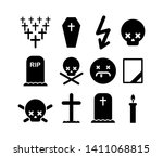 death icon set. tombstone and... | Shutterstock .eps vector #1411068815