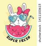 hand drawn cute rabbit...   Shutterstock .eps vector #1411103615