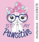 hand drawn cute cat... | Shutterstock .eps vector #1411108178