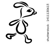 Stock photo running hare with big eyes black outline 1411130615
