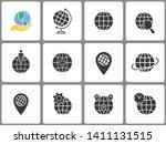 globe icon set. black vector... | Shutterstock .eps vector #1411131515