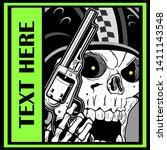 Military Skull Holding A Gun...