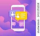 social media messenger... | Shutterstock .eps vector #1411151018