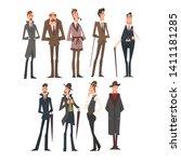 victorian gentlemen characters... | Shutterstock .eps vector #1411181285