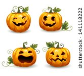 set pumpkins for halloween. set ...