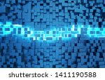 glowing black and blue abstract ...   Shutterstock . vector #1411190588