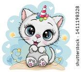 Stock vector cute cartoon white kitten with the horn of a unicorn 1411198328