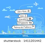 different world city direction... | Shutterstock .eps vector #1411201442