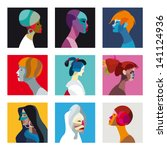 nine faces of women and girls... | Shutterstock .eps vector #141124936