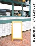 blank white menu stand on floor ... | Shutterstock . vector #1411259315