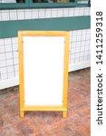 blank white menu stand on floor ... | Shutterstock . vector #1411259318