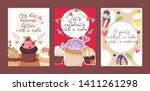 cupcake poster design bakery... | Shutterstock .eps vector #1411261298