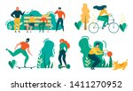 cartoon people outdoors... | Shutterstock .eps vector #1411270952