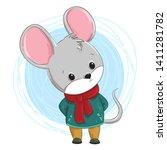cute little mouse  hand drawn... | Shutterstock .eps vector #1411281782
