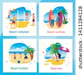rest and active time on beach... | Shutterstock .eps vector #1411284128