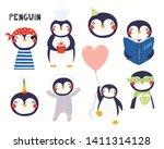 set of cute penguin... | Shutterstock .eps vector #1411314128
