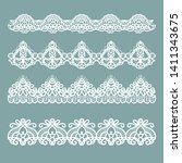set of horizontal lace borders | Shutterstock .eps vector #1411343675