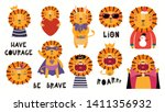 Stock vector set of cute lion illustrations king pirate superhero easter christmas halloween isolated 1411356932