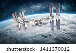 International space station on orbit of Earth planet. ISS. Stars and galaxies. Elements of this image furnished by NASA
