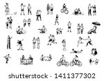 people having fun  skating ... | Shutterstock .eps vector #1411377302