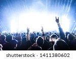 cheering crowd at rock concert | Shutterstock . vector #1411380602