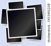 polaroid square photo frames on ... | Shutterstock .eps vector #1411401218