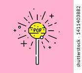 Lollipop fizz icon. Lolly flavor burst symbol. Yellow sweet fizzy sucker stick isolated on pink background. Vector illustration.