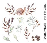 watercolor forest set.  perfect ... | Shutterstock . vector #1411419302