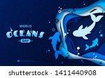 world oceans day  paper art.... | Shutterstock .eps vector #1411440908