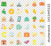 wealth icons set. cartoon style ... | Shutterstock .eps vector #1411445132