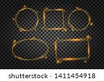 vector golden frame with lights ... | Shutterstock .eps vector #1411454918
