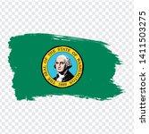 flag of  washington from brush...