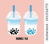 the soda bubble tea  pearl milk ... | Shutterstock .eps vector #1411516775