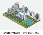 isometric building vector.... | Shutterstock .eps vector #1411518458