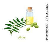 glass bottle with neem oil ... | Shutterstock .eps vector #1411533332