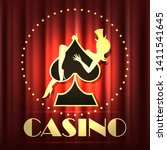 casino emblem with girl on sign ... | Shutterstock .eps vector #1411541645