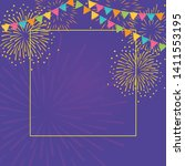 gold fireworks and colorful... | Shutterstock .eps vector #1411553195