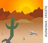 desert cactus sunset | Shutterstock .eps vector #1411576