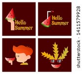 summer print with cute elements ... | Shutterstock .eps vector #1411579928