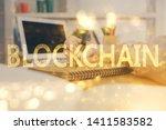 cryptocurrency hologram over...   Shutterstock . vector #1411583582