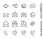 communication line icon set 5 ... | Shutterstock .eps vector #1411588532