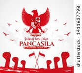 indonesian holiday pancasila... | Shutterstock .eps vector #1411637798
