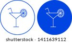 cocktail icon in circle. vector ... | Shutterstock .eps vector #1411639112