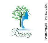 womans head stylized profile... | Shutterstock .eps vector #1411679528