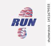 run symbol in grunge style ... | Shutterstock .eps vector #1411679555