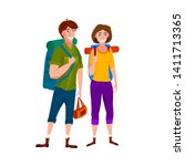 tourists   man and woman vector ... | Shutterstock .eps vector #1411713365