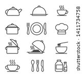 kitchen icons set  black and...
