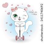 lovely cute white kitten  the... | Shutterstock .eps vector #1411740692