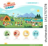 happy kids enjoying summer camp ... | Shutterstock .eps vector #1411757378