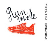 running shoe silhouette with... | Shutterstock .eps vector #1411761512